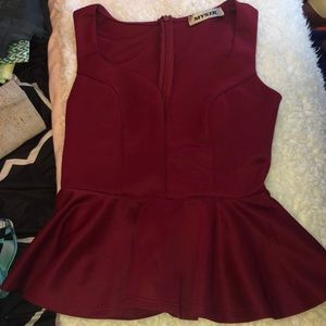 Burgundy peplum top